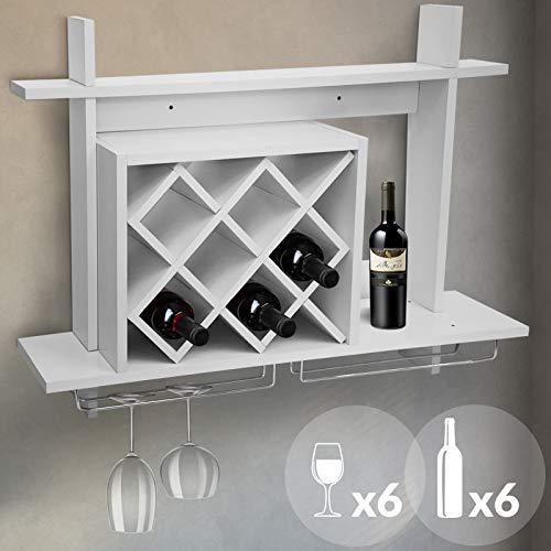 MIADOMODO Weinregal Wand mit Glashalter | Weiß, für 6 Flaschen und 6 Gläsern, 80x20x58cm | Flaschenregal, Weinflaschenhalter, Weinständer, Weinhalter - Stapelbare Glas-wand-regal