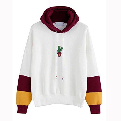 FriendG Women Girls Fashion Lovely Autumn Winter Long Sleeve Cactus Print Sweater Hoodie Sweatshirt Jumper Hooded Pullover Tops Coats