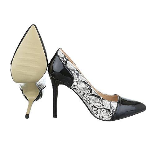 Ital-Design , chaussures compensées femme noir/gris