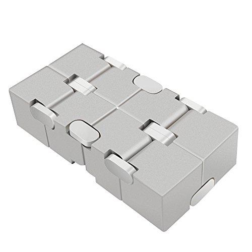 LilBit Fidget Hand Finger Infinity Cube Giochi Giocattolo, Lega di Alluminio, Stress Relief Toys per Anxiety Autism ADD ADHD EDC Bambini / Adulto Argento - 2