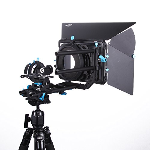Fotga DP500IIS Pro DSLR Rig Set Film-Installationssatz A / B Fest Stops Quick Release folgen Fokus DSLR + 15mm Rods Schienen Rig Unterstützung bei Cheese Baseplate + DP3000 M3 DSLR wegschwenken Matte Box Kit für alle DSLR-Kamera Video Camcorder Matte Box Kit