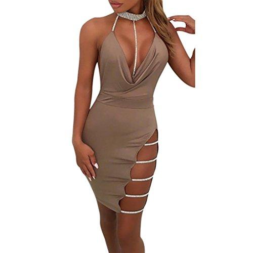 OVERDOSE Damen Tiefem V-Ausschnitt Neckholder Rückenfrei Choker Schlitz Pailletten Bodycon Minikleid Club Partyleid (A-Khaki,EU-36/CN-S) - Xl Retro Bowling Shirt