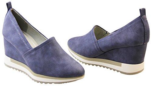 Damen Marco Tozzi Mode Keil Ferse Schuhe Marine