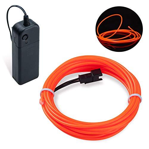 Lysignal Wasserdicht Flexibel 3M 9 FT Neon Beleuchtung Lichtschlauch Leuchtschnur EL Kabel Wire mit 3 Modis für Disco Party Kinder Halloween Kostüm Kleidung Weihnachtsfeiern(Orange)