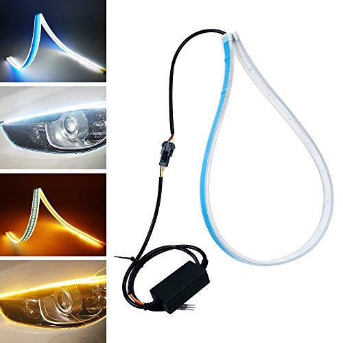 2pz bianco/ambra Fari auto in LED, luci DRL, YANF luci di direzione Tubi luminosi a LED, per parte frontale dell'automobile (60CM)