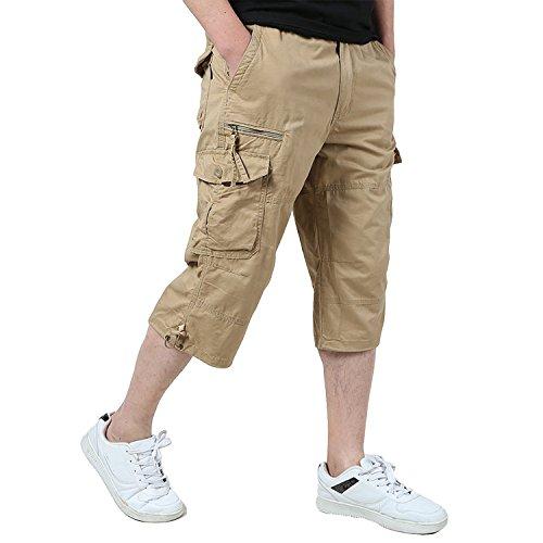 KEFITEVD Men's Casual Twill Elastic 3/4 Cargo Shorts Loose Fit Multi-Pocket Capri Long Shorts