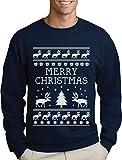 Rentier Pullover Herren Weihnachten Rentier Pullover Herren Weihnachten Merry Christmas Reindeer Christmas Tree Rentier Baum Sweatshirt Large Marineblau