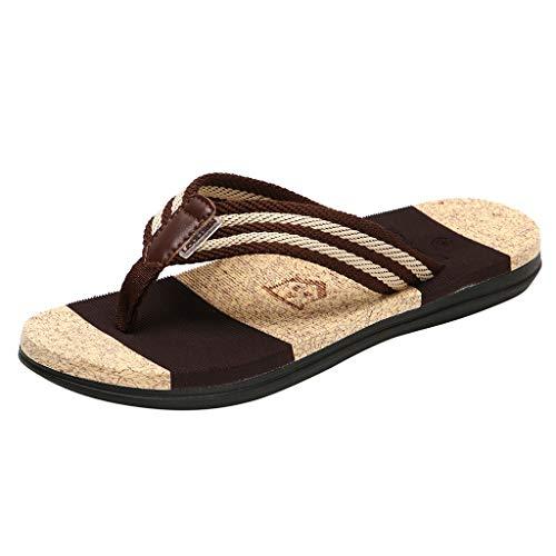 Herren Zehentrenner,SANFASHION Männer Mode Casual Flache Flip Flops Hausschuhe Strand Gestreiften Sandalen