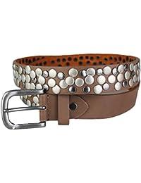 Nieten Gürtel aus echtem Leder im Vintage Style 85 90 95 100 105 NEU TOP Braun 90 G1007