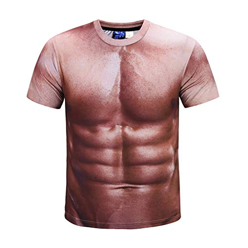 UINGKID Herren T-Shirt Slim-Fit Easy Business Kurzarm Unterhemd Unisex Urlaub Shirt unhöflich Stag Party Fancy Dress 3D Offensive Boobs gedruckt Tee -