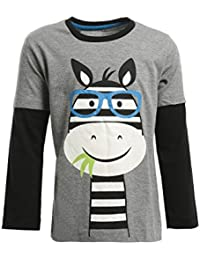 5dc67c05 Lazy shark - Boys Grey Tshirt - Cotton Fabric - Cartoon Printed - Full  Sleeves Tees - Round Neck - For/1/2/3/4/5/6/7 Years…