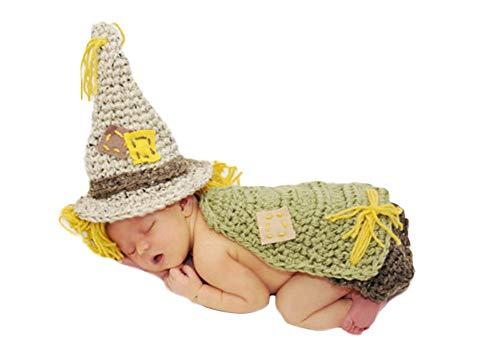 Neugeborenes Baby Mädchen häkeln Kostüm Outfits Fotografie Requisiten Vogelscheuche Hut+Hose 0-6 Monate