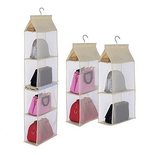 Businda 4Slot Aufbewahrungstasche für Frauen Zum Aufhängen Handtasche Damen Taschen Faltbar Sundry Kleiderschrank Schrank für Mädchen SNGD-MS -