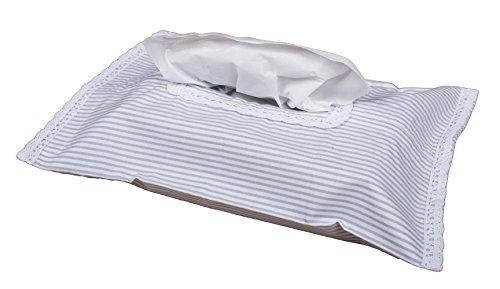 Vizaro - HÜLLE für Baby Feuchttücherbox/Pflegetücher/Mäpchen - der Handtücherschachtel - 100% BAUMWOLE - Hergestellt in der EU - SICHERES PRODUKT - K. Graue Linien