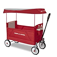 Radio Flyer 3957A EZ Folding Wagon with Canopy for Kids and Cargo, Red