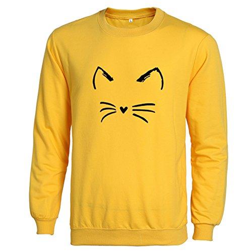 Femme Automne Cou Rond Manches Longues Casual Imprimé Chats Mode lâche Sweatshirt Haut Pull Chemise Débardeurs Homme T-Shirt Tops Style: 17
