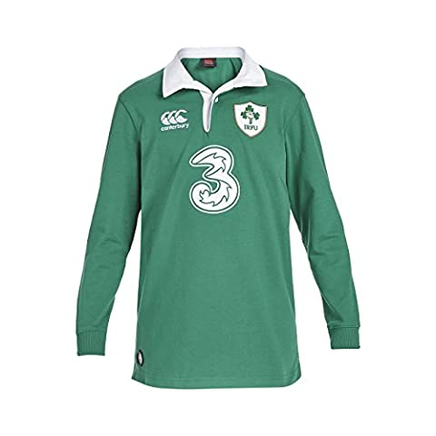 Canterbury Ireland Home Kids' Classic Long Sleeve Rugby Jersey - Green/White, 12 years