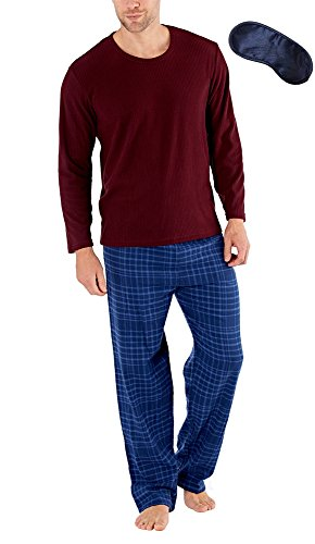 Harvey James Männer Plain Top & Checked Unterseiten Thermo Fleece Pyjama Set (L) Burgund/Petroleum (Burgund Flanell)