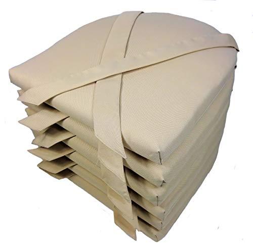 Rattani Set 6 x Stuhlkissen/Sitzkissen Marina halbrund mit Schleife 42 x 45 cm Dicke 5 cm, Fb. beige, Polyester