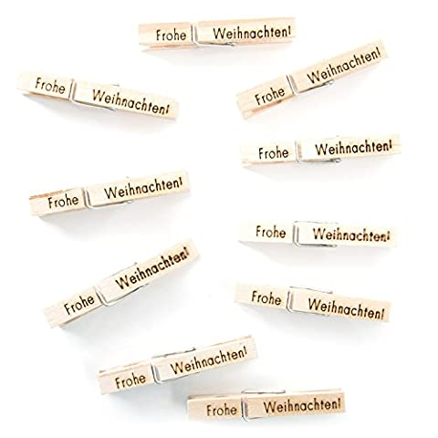 """40 Zier-Natur-Holz-Deko-Wäsche-Klammern mit Text """"Frohe Weihnachten!"""" (7,2 cm) handgemacht; zum Verzieren von Geschenken und Basteln für Adventskalender, perfekt zum Wichteln!"""
