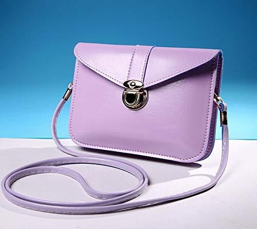 FANGDADAN Damen Umhängetaschen,Frauen Umhängetasche Sweet Cute Crossbody Bag Vintage Style Clutch Weiche Pu Leder Handtasche Mini Messenger Bag, Lavendel - Lavendel Vintage Handtasche
