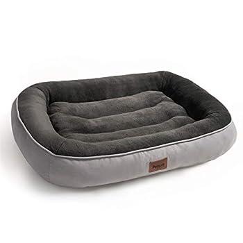 Bedsure Panier Chien Grande Taille en Peluche 110x76x18 cm - Lit pour Chien Anti-dérapant et Lavable - Coussin Chien Ultra-Doux Canapé Chien Gris