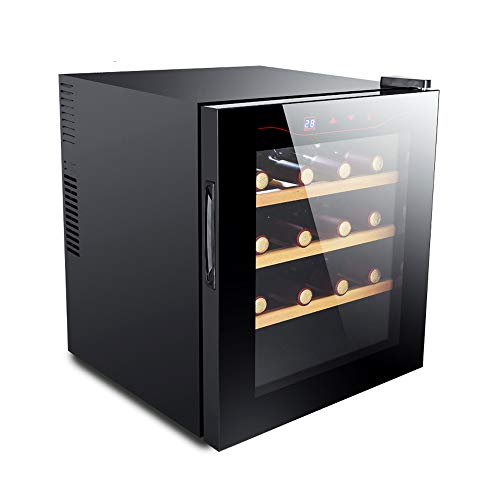 Schwarz Thermoelektrische Weinkühler (HYYQG WeinküHlschrank 16 Flasche, Glastür Temperatur 50Hz 30dB 11 bis 18 ° C Doppelverglasung Edelstahlgehäuse Thermoelektrische Kühlung UV-Schutz Präzisions-Chip Smart Home Schwarz, Black)
