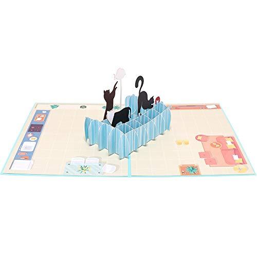 BENI Katzen-Ziel kreatives Geschenk 3D, das dreidimensionales hohles Papier schnitzt Gruß-Karten Feiertags-freien Raum-Umschlag-Segen faltet