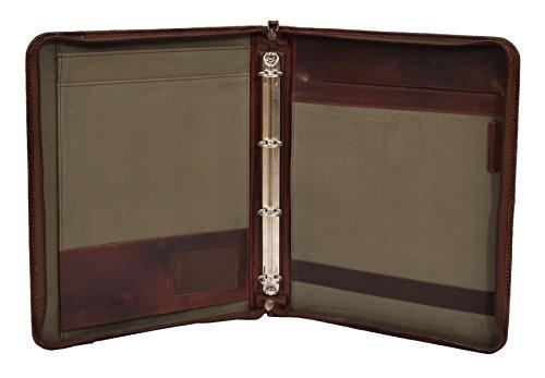 A1 FASHION GOODS Luxus Leder Ringmappe Folio Reißverschluss Um A4-Pad Dokument Hellbraun Leder Datei Case - Percy - Leder Datei Tragetaschen