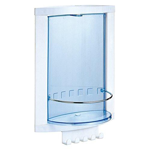 MSV MS510 - Armario de baño, 23 x 32 x 12 cm, polipropileno y vidrio templado, color azul