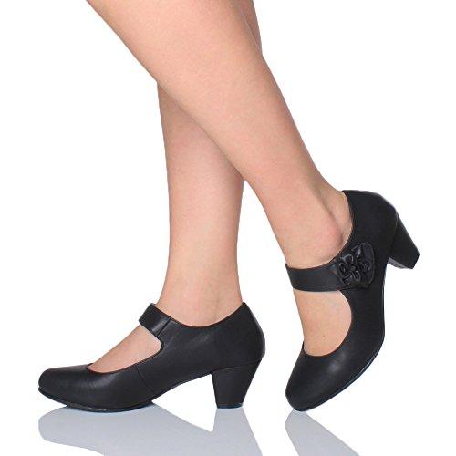 Donna tacco medio Mary Jane pelle foderata comodoa décolleté scarpette taglia Nero