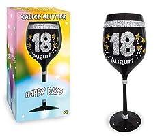 Idea Regalo - dor Calice Maxi 18 Anni in Vetro Nero con Stampa Glitter - Gadget Idea Regalo Festa 18° Compleanno