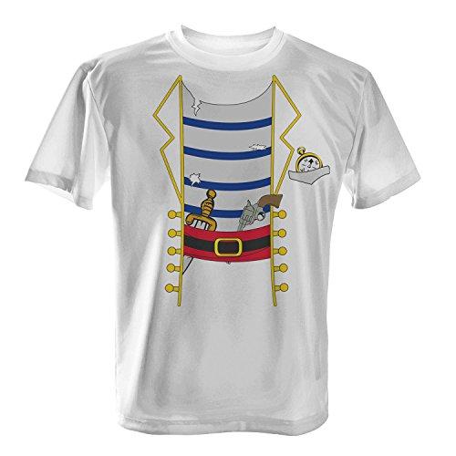 Fashionalarm Herren T-Shirt - Piraten Kostüm | Fun Shirt als Verkleidung für Karneval & Fasching Weiß