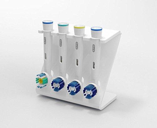 Plastic Online Ltd Elektrische Zahnbürsten-Ständer für 4x Bürstenköpfe, in verschiedenen Farben erhältlich weiß