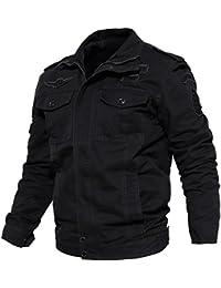 KEFITEVD Men's Cargo Multi Pocket Stand Collar Military Fashion Cotton Jackets Coat
