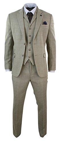 Cavani Costume 3 pièces Homme Tweed à Chevrons Carreaux crème Beige Style Vintage cupe cintrée