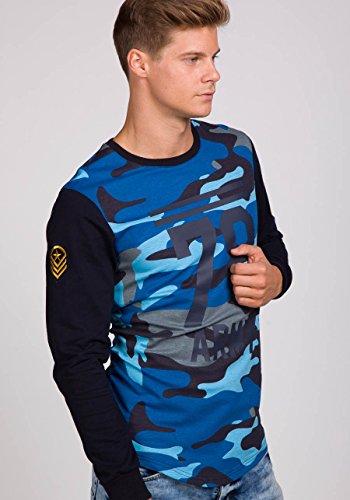 BOLF Herren Sweatshirt Langarmshirt Pullover Sweatjacke Pulli Camo Mix 1A1 Motiv Dunkelblau_0766