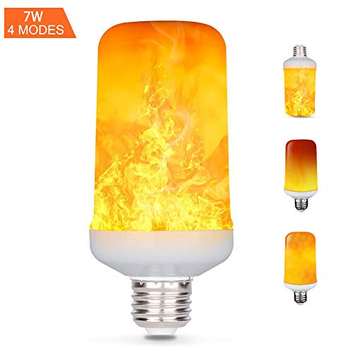 (E27 LED-Flamme Effekt Fire Glühlampen, Creative Leuchten mit flackerndem Emulation, Vintage Atmosphäre Deko, Simuliert Gas Hurricane Laterne, warm weiß, 7Watt E27)
