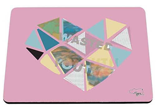 80 ' S Tee (hippowarehouse Wasted Youth Love Herz gedruckt Mauspad Zubehör Schwarz Gummi Boden 240mm x 190mm x 60mm, rose, Einheitsgröße)