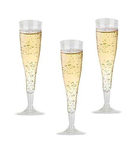 Hochwertige Harte Kunststoff transparent champagner Flöten. 6Unze Kapazität, Set von 18Einweg Glas Drinkware.
