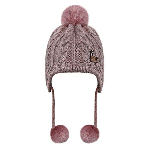 Babymütze Kinder Wintermütze Kindermütze Strickmütze Baby Beanie Baskenmütze warm Winter Haube Kapuze Mützen Hüte für Mädchen Jungen, Pink, Einheitsgröße