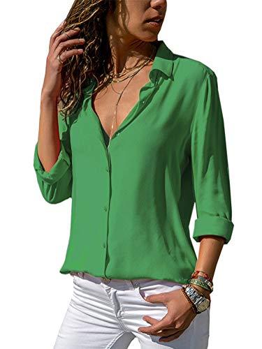 Minetom blusa donna con collo v maglietta maniche lunghe casual tinta unita chiffon sexy ufficio camicetta elegante top t shirt primavera e autunno verde it 40