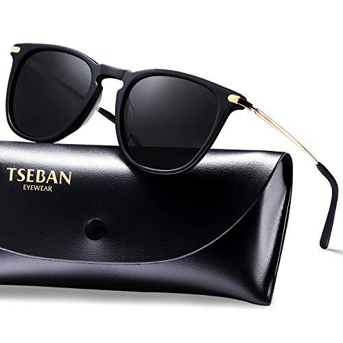 TSEBAN Vintage Damen Sonnenbrille Polarisierte Frauen Brille, Acetat-Rahmen & UV 400 Schutz (Schwarz) - Schwarze Oberfläche, Schreibtisch