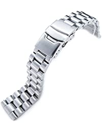 22mm Solid 316L Stainless Steel Endmill Metal Watch Bracelet, Straight End