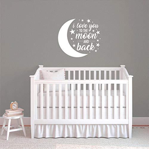 Waofe Sticker Mural Design Je T'Aime À La Lune Et Au Dos Stickers Bébé Chambre Bricolage Stickers Pour Enfants Chambre D'Enfant Décor 58 * 64Cm