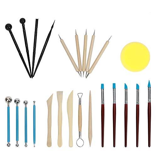 TOROTON Modellierwerkzeug Set Keramik Skulptur Ton Werkzeug Kit, Ball Stift Dot Malerei Werkzeug für Mandala Rock Art - 24 Stücke -
