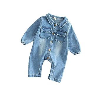 ACVIP Baby Infant Boys Girls Long Sleeve Romper Onesie Toddler Spring Fall Denim Jumpsuit (3-6 Months, Giraffe)