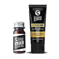 BEARDO LITE Beard and Mustache Oil 35ml and BEARDO Ultraglow Face Lotion For Men - 100g combo.