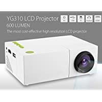 YG310 LCD Projector 600 Lumen HD Resolution Protable Mini Projector Long Lighting Time Low Power Consumption for Home Theater Display/ Office Work/ Travel Support AV/ USB/ HDMI/ TF