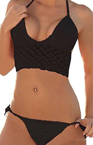Summer Mae Summer Mae Damen Push Up Gehäkelt Bikini Set Bademode mit V- Ausschnitt Schwarz